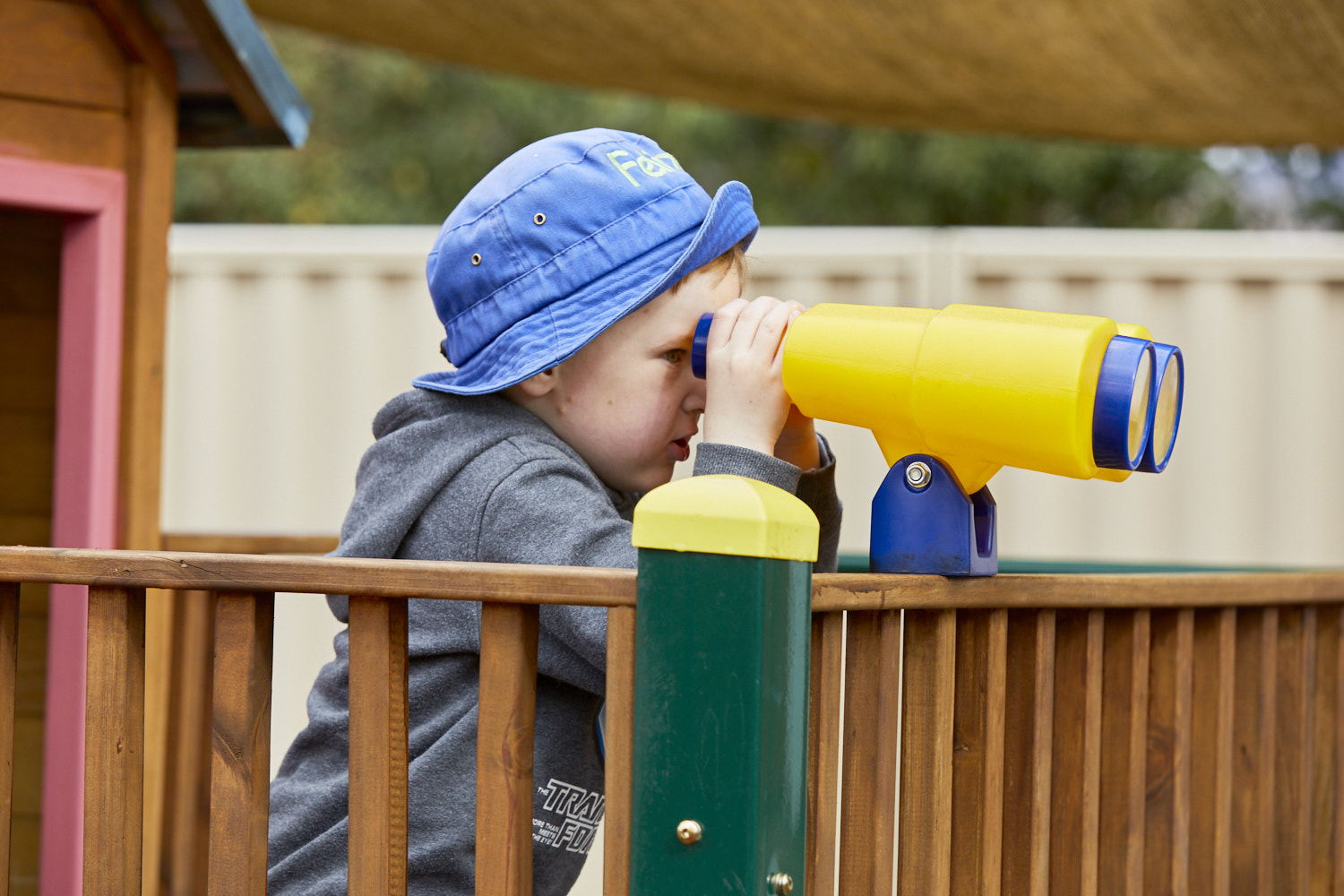 Child in outdoor play area at Milestones Bungendore